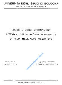 Ricerche sugli ordinamenti cittadini delle regioni romaniche d'italia nell'alto medio evowL-01