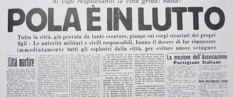 La Prima Pagina Del Quotidiano L'Arena Di Pola Del 20 Agosto 1946